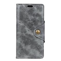 HTC Desire 12 Plus用手帳型 レザーケース スタンド カバー L03 HTC グレー