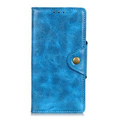 HTC Desire 19 Plus用手帳型 レザーケース スタンド カバー HTC ネイビー