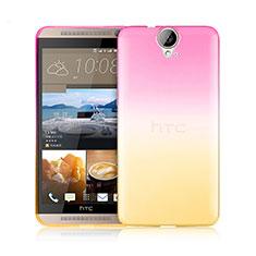 HTC One E9 Plus用極薄ソフトケース グラデーション 勾配色 クリア透明 HTC ピンク