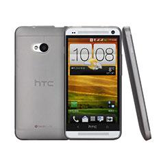 HTC One M7用極薄ケース クリア透明 プラスチック HTC グレー