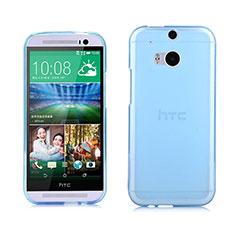HTC One M8用極薄ソフトケース シリコンケース 耐衝撃 全面保護 クリア透明 HTC ネイビー