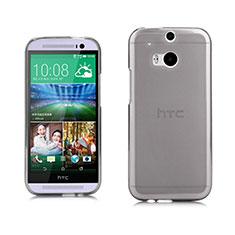 HTC One M8用極薄ソフトケース シリコンケース 耐衝撃 全面保護 クリア透明 HTC グレー