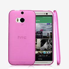 HTC One M8用極薄ソフトケース シリコンケース 耐衝撃 全面保護 クリア透明 T01 HTC ピンク