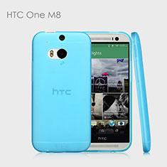 HTC One M8用極薄ソフトケース シリコンケース 耐衝撃 全面保護 クリア透明 T01 HTC ブルー