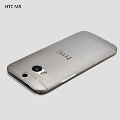 HTC One M8用極薄ソフトケース シリコンケース 耐衝撃 全面保護 クリア透明 T01 HTC グレー