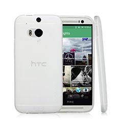 HTC One M8用極薄ソフトケース シリコンケース 耐衝撃 全面保護 クリア透明 T01 HTC ホワイト