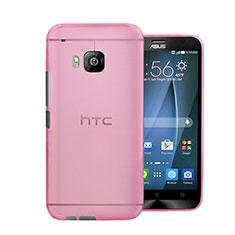 HTC One M9用極薄ケース クリア透明 プラスチック HTC ピンク