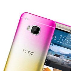 HTC One M9用極薄ソフトケース グラデーション 勾配色 クリア透明 HTC ピンク
