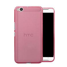 HTC One X9用極薄ソフトケース シリコンケース 耐衝撃 全面保護 クリア透明 HTC ピンク