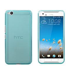 HTC One X9用極薄ソフトケース シリコンケース 耐衝撃 全面保護 クリア透明 HTC ネイビー