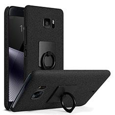 HTC U Ultra用ハードケース カバー プラスチック アンド指輪 HTC ブラック