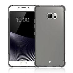 HTC U Ultra用極薄ソフトケース シリコンケース 耐衝撃 全面保護 クリア透明 HTC グレー