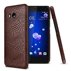 HTC U11用ハードケース プラスチック レザー柄 HTC ブラウン