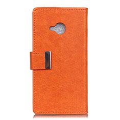 HTC U11 Life用手帳型 レザーケース スタンド カバー L02 HTC オレンジ