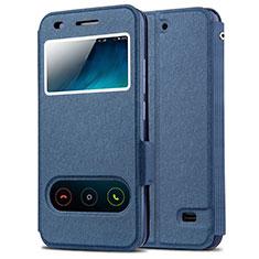 Huawei Ascend G620S用手帳型 レザーケース スタンド ファーウェイ ネイビー