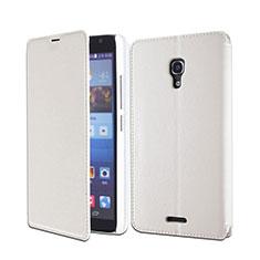 Huawei Ascend Mate 2用手帳型 レザーケース スタンド ファーウェイ ホワイト