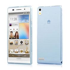 Huawei Ascend P6用極薄ソフトケース シリコンケース 耐衝撃 全面保護 クリア透明 ファーウェイ ネイビー