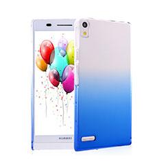 Huawei Ascend P6用ハードケース グラデーション 勾配色 クリア透明 ファーウェイ ネイビー