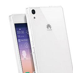 Huawei Ascend P7用極薄ソフトケース シリコンケース 耐衝撃 全面保護 クリア透明 ファーウェイ ホワイト
