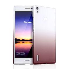 Huawei Ascend P7用ハードケース グラデーション 勾配色 クリア透明 ファーウェイ ブラウン