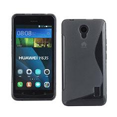 Huawei Ascend Y635用ソフトケース S ライン クリア透明 ファーウェイ グレー