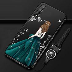 Huawei Enjoy 10S用シリコンケース ソフトタッチラバー バタフライ ドレスガール ドレス少女 カバー ファーウェイ グリーン