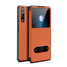 Huawei Enjoy 10S用手帳型 レザーケース スタンド カバー L12 ファーウェイ オレンジ