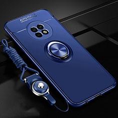 Huawei Enjoy 20 Plus 5G用極薄ソフトケース シリコンケース 耐衝撃 全面保護 アンド指輪 マグネット式 バンパー ファーウェイ ネイビー