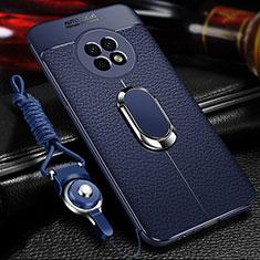 Huawei Enjoy 20 Plus 5G用シリコンケース ソフトタッチラバー レザー柄 アンド指輪 マグネット式 ファーウェイ ネイビー