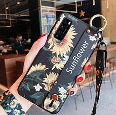 Huawei Enjoy 20 Pro 5G用シリコンケース ソフトタッチラバー 花 カバー S01 ファーウェイ イエロー
