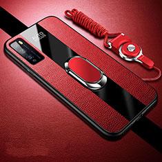 Huawei Enjoy 20 Pro 5G用シリコンケース ソフトタッチラバー レザー柄 アンド指輪 マグネット式 ファーウェイ レッド
