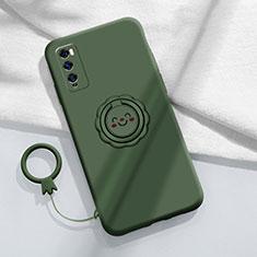 Huawei Enjoy 20 Pro 5G用極薄ソフトケース シリコンケース 耐衝撃 全面保護 アンド指輪 マグネット式 バンパー A02 ファーウェイ グリーン