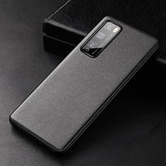 Huawei Enjoy 20 Pro 5G用ケース 高級感 手触り良いレザー柄 ファーウェイ ブラック