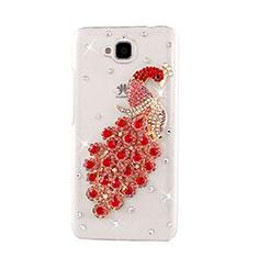 Huawei Enjoy 5用ケース ダイヤモンドスワロフスキー 孔雀 ファーウェイ レッド
