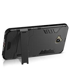 Huawei Enjoy 5用ハードケース プラスチック 質感もマット アンドスタンド ファーウェイ ブラック