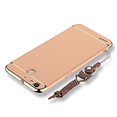 Huawei Enjoy 5S用ケース 高級感 手触り良い メタル兼プラスチック バンパー 亦 ひも ファーウェイ ゴールド