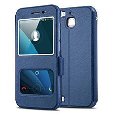 Huawei Enjoy 5S用手帳型 レザーケース スタンド L01 ファーウェイ ネイビー