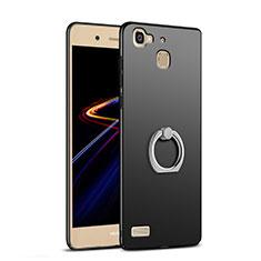 Huawei Enjoy 5S用ハードケース プラスチック 質感もマット アンド指輪 A03 ファーウェイ ブラック
