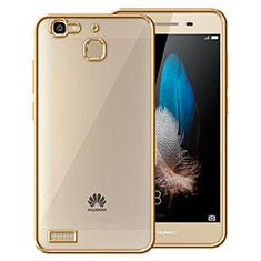 Huawei Enjoy 5S用ハイブリットバンパーケース クリア透明 プラスチック ファーウェイ ゴールド