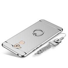 Huawei Enjoy 6S用ケース 高級感 手触り良い メタル兼プラスチック バンパー アンド指輪 亦 ひも ファーウェイ シルバー