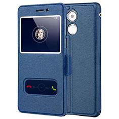 Huawei Enjoy 6S用手帳型 レザーケース スタンド ファーウェイ ネイビー