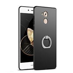 Huawei Enjoy 6S用ハードケース プラスチック 質感もマット アンド指輪 A02 ファーウェイ ブラック