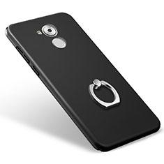 Huawei Enjoy 6S用ハードケース プラスチック 質感もマット アンド指輪 ファーウェイ ブラック