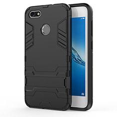 Huawei Enjoy 7用ハイブリットバンパーケース スタンド プラスチック 兼シリコーン ファーウェイ ブラック