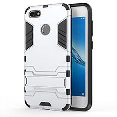 Huawei Enjoy 7用ハイブリットバンパーケース スタンド プラスチック 兼シリコーン ファーウェイ ホワイト