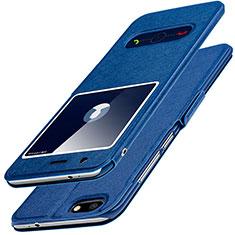 Huawei Enjoy 7用手帳型 レザーケース スタンド L01 ファーウェイ ネイビー