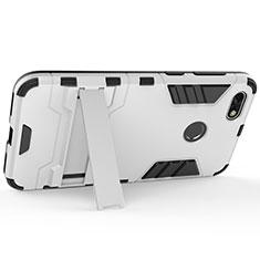 Huawei Enjoy 7用ハードケース プラスチック 質感もマット アンドスタンド ファーウェイ シルバー