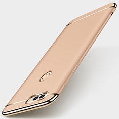 Huawei Enjoy 7S用ケース 高級感 手触り良い メタル兼プラスチック バンパー M01 ファーウェイ ゴールド