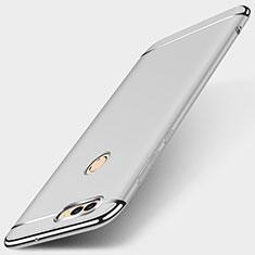 Huawei Enjoy 7S用ケース 高級感 手触り良い メタル兼プラスチック バンパー M01 ファーウェイ シルバー