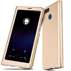 Huawei Enjoy 7S用手帳型 レザーケース スタンド L01 ファーウェイ ゴールド